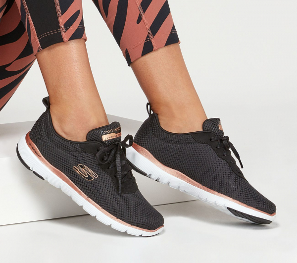 Skechers Sport FLEX APPEAL 3.0 - Zapatillas - black/rose gold 13070/BKRG